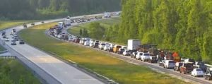 Road rage crash on Route 1 east of Townsend backed up northbound traffic and forced detours. (Photo: DelDOT traffic cam)