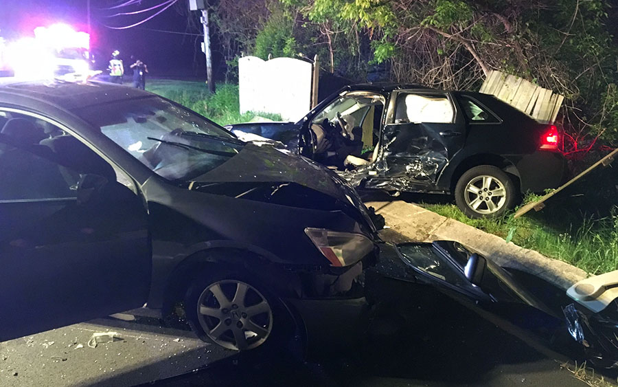 Accident scene on Lancaster Pike (Route 41) at McGovern Road in Hockessin. (Photo: Delaware Free News)