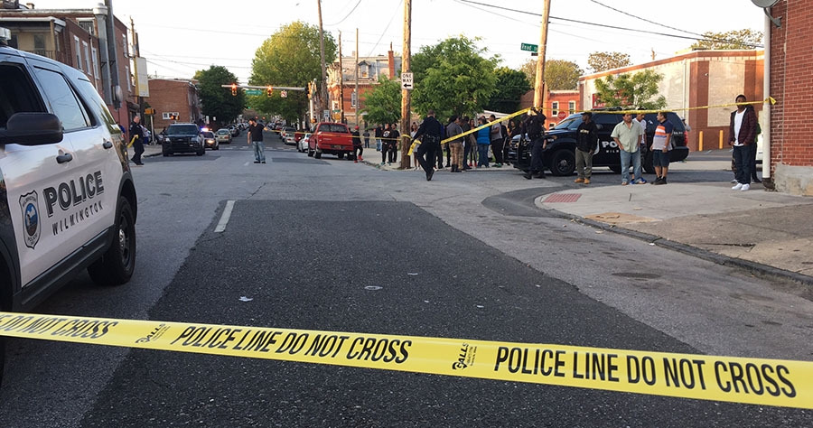 Police investigate shooting at Lancaster Avenue and South Franklin streets. (Photo: Delaware Free News)