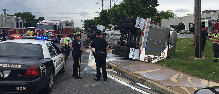 Tanker spilled load of milk along Route 273 at Route 72, adjacent to the Newark post office. (Photo: Delaware Free News)
