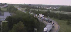 Southbound Route 1 traffic is diverted off the highway at the South Smyrna toll ramp (Exit 114). (Photo: DelDOT)