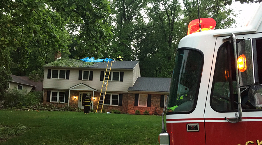 Storm toppled part of large tree onto home in Brackenville Woods. (Photo: Delaware Free News)