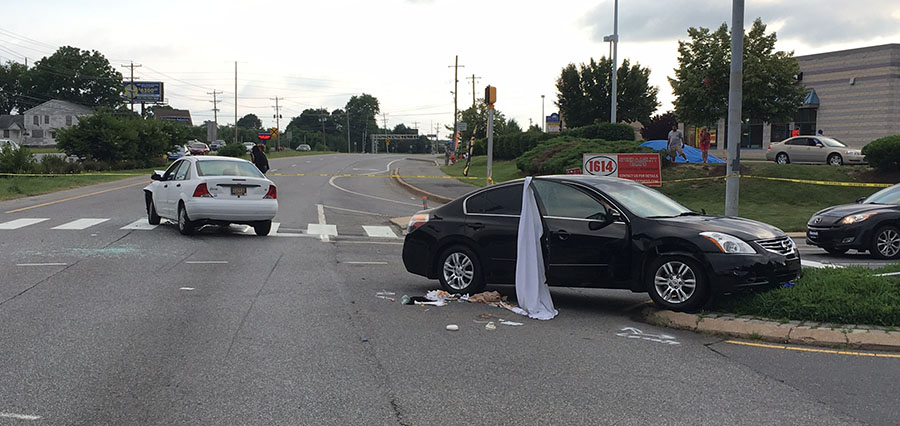 Crash at Scotland Drive and U.S. 40 followed shooting. (Photo: Delaware Free News)