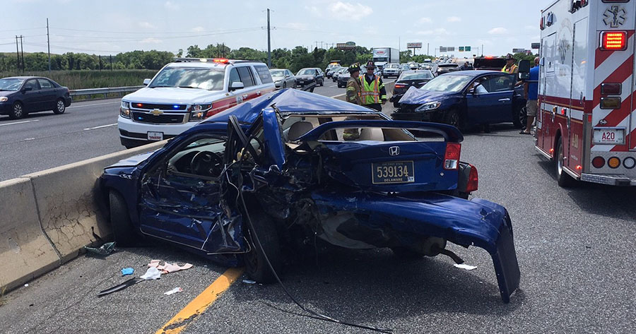 3 taken to hospital after 4-car I-95 crash – Delaware Free News
