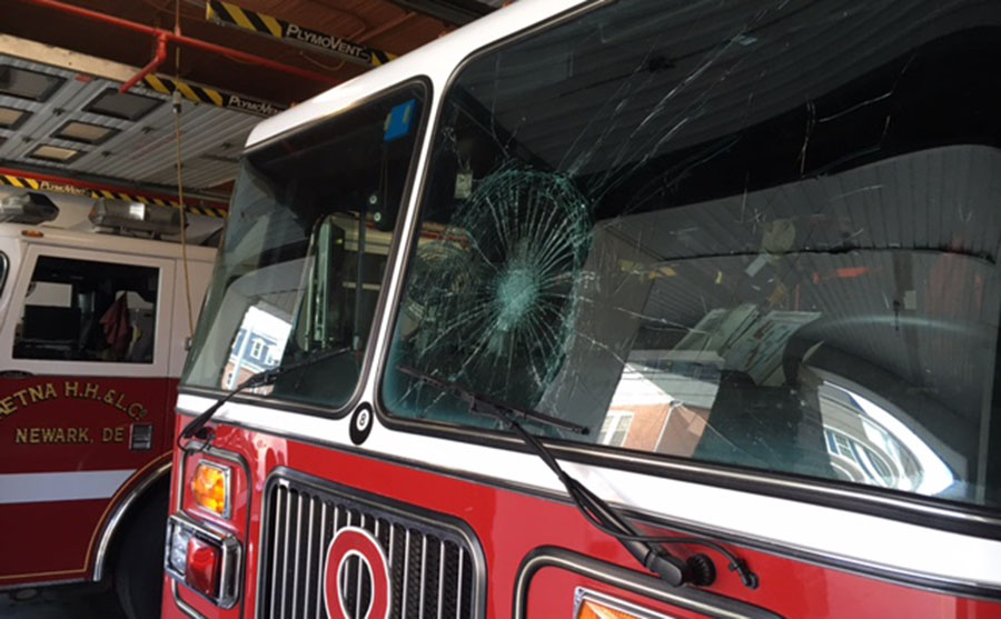 Police say someone tossed a bottle that shattered the windshield on this Aetna Hose, Hook & Ladder Fire Company truck. (Photo: Delaware Free News)