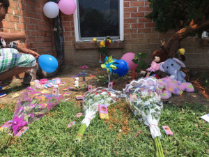 Balloons and flowers were left at spot where 6-year-old Anya Jackson was killed. (Photo: Delaware Free News)