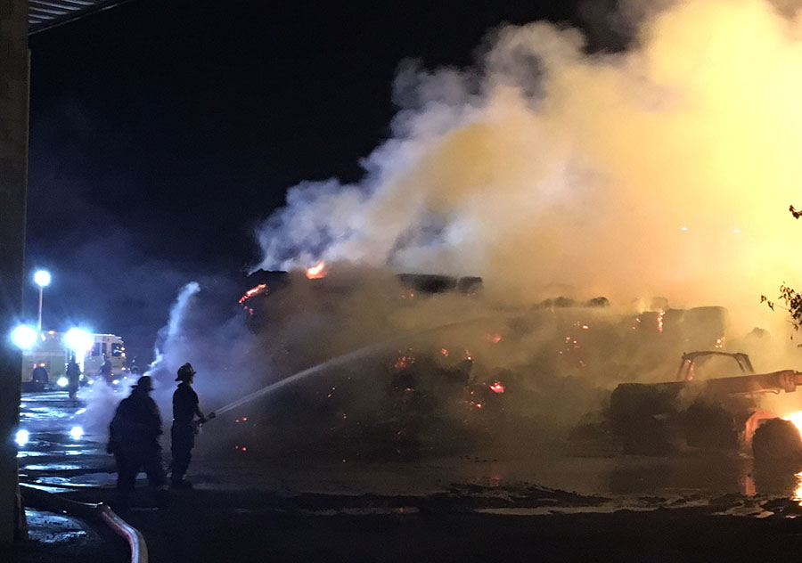Hay bales burned at Modern Mushroom Farms on Newark Road in New Garden Township, Pennsylvania. (Photo: Delaware Free News)
