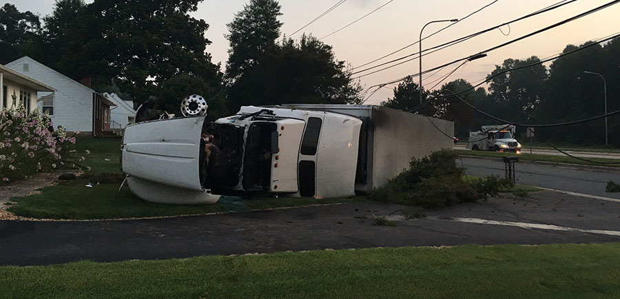 FedEX tractor-trailer overturned in crash on South College Avenue at Old Baltimore Pike. (Photo: Delaware Free News)