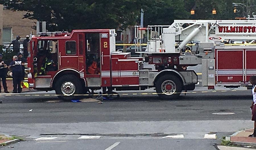 Crash scene at Fourth and Van Buren streets in Wilmington. (Photo: Delaware Free News)
