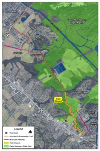 Map of area to be closed for repairs. (Division of Parks & Recreation)