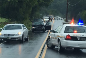 Crash on Walther Road happened as cars were trying to avoid flooded roadway near U.S. 40 in Bear. (Reader-submitted photo courtesy Jennifer Jankowski)