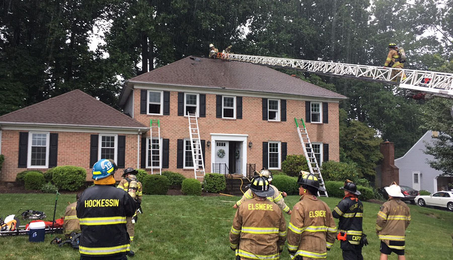 Hockessin and Elsmere firefighters responded after lightning struck a home in the 300 block of Deergrass Road in the Bonayre development in Hockessin. (Photo: Delaware Free News)