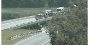 Crash scene on Route 1 at Frederica (Photo: DELDOT traffic cam)