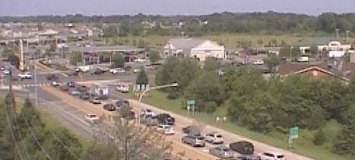 Traffic was being forced off southbound Route 1 at the south Smyrna exit, onto U.S. 13. (DELDOT traffic cam)