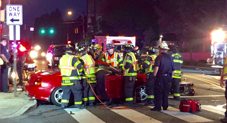 Driver of red car was trapped about 30 minutes until being extricated by firefighters. (Photo: Delaware Free News)
