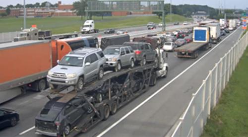Traffic backs up at 5:40 p.m. on Interstate 295 approaching the Delaware Memorial Bridge. (Photo: DelDOT traffic cam)