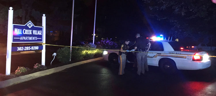 New Castle County police investigate shooting at Mill Creek Village Apartments. (Photo: Delaware Free News)
