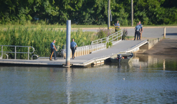 Police investigate at boat ramp near Newport after body was found floating in Christina River. (Photo: Delaware Free News)