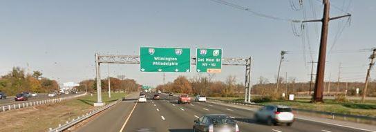 Northbound I-95 at split near New Castle (Photo: Google maps)