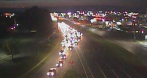 Southbound U.S. 13 traffic is diverted onto North State Street about 8:20 p.m. (Photo: DelDOT traffic cam)