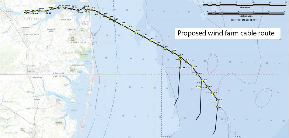 Proposed cable route from US Wind turbines off Maryland into Delaware