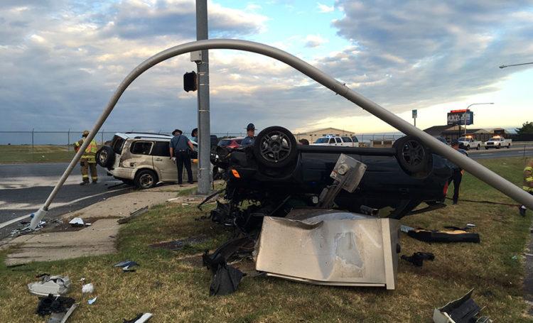 Crash on Basin Road (Route 141) (Photo: Delaware Free News)