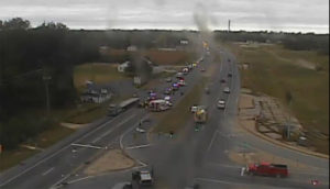 Crash on southbound Route 1 at Bowers Beach Road (Photo: DelDOT traffic cam)