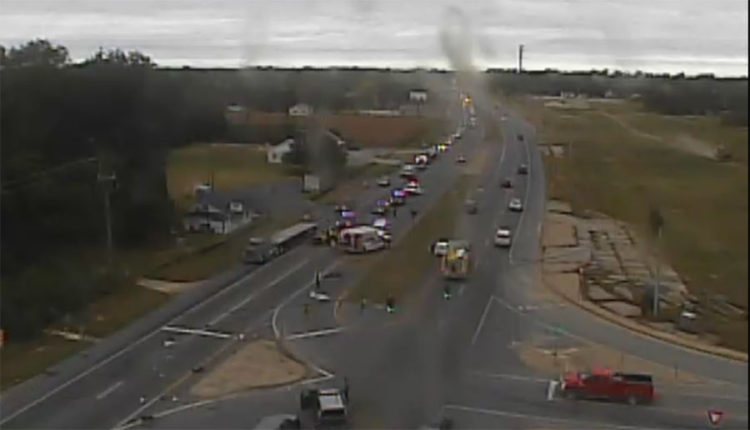 Crash on southbound Route 1 at Bowers Beach Road (Photo: Delaware Free News)