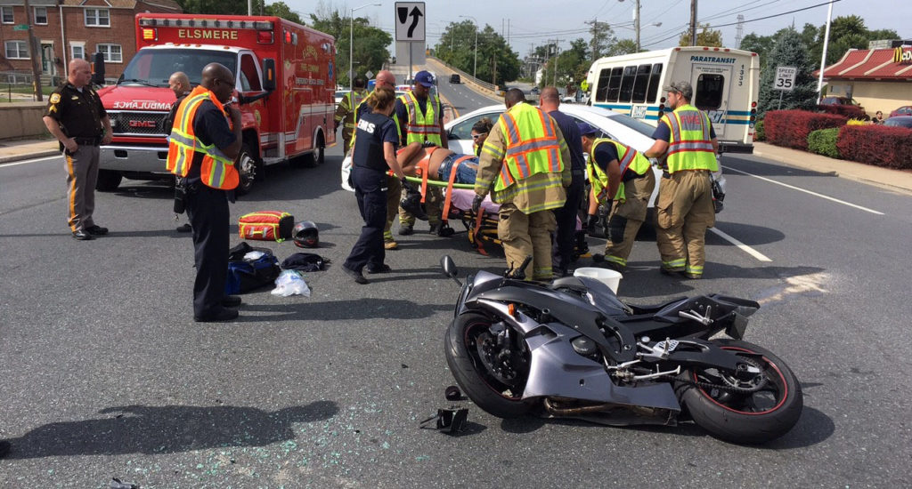 Motorcycle and car collided on Kirkwood Highway at Seneca Road. (Photo: Delaware Free News)