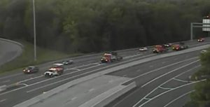 DelDOT trucks block northbound Route 1 ramp to Interstate 95 at Christiana. (Photo: DelDOT traffic cam)