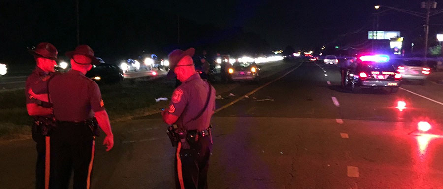 Police investigate after car struck woman on U.S. 40. (Photo: Delaware Free News)