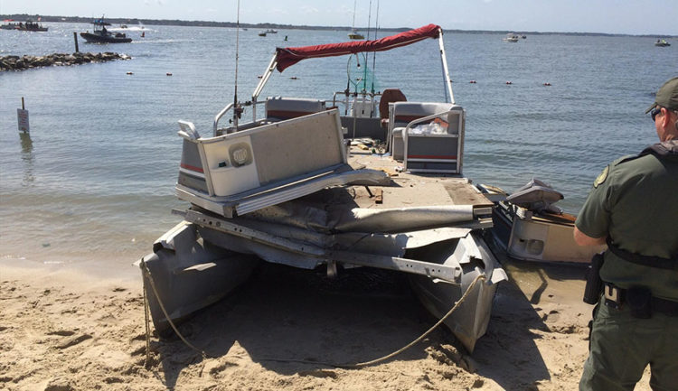 Pontoon boat involved in collision with personal watercraft on Indian River Bay. Photo: Indian River Volunteer Fire Company)