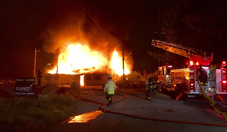 Fire rips through former Up the Creek restaurant building in Wilmington. (Photo: Delaware Free News)