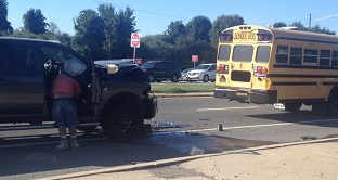 Police said pickup rear-ended school bus on Summit Bridge Road. (Photo: Delaware Free News)