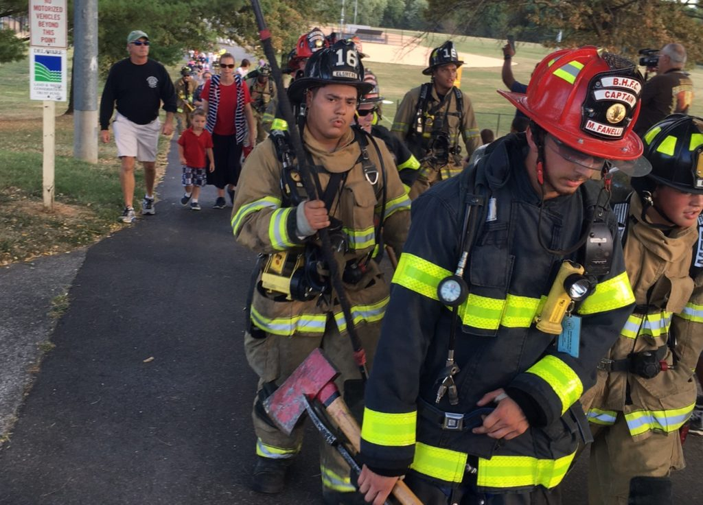 Walk held at Delcastle Park on Mckennans Church Road marked the 15th anniversary of the Sept. 11, 2001, terrorist attacks. Event was sponsored by a firefighters group, the First State Fraternal Order Of Leatherheads Society. (Photo: Delaware Free News)