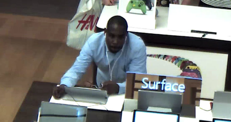 Delaware State Police released surveillance images of suspects in computer theft at Microsoft Store in Christiana Mall.