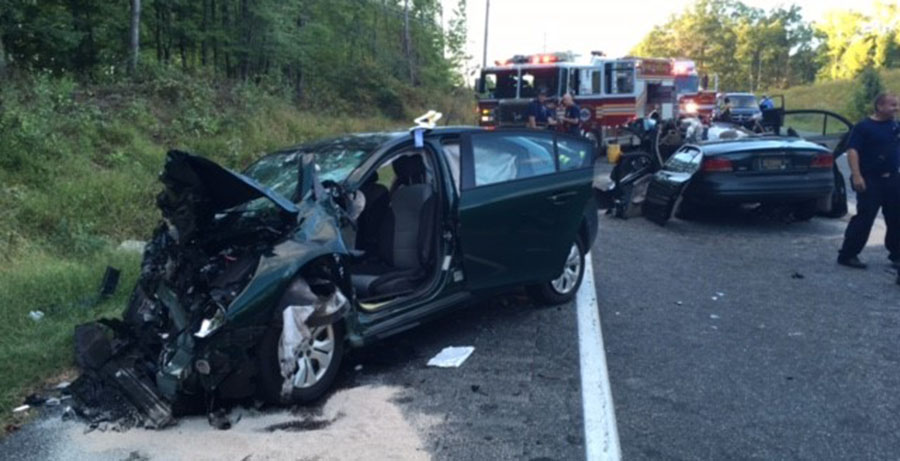 Crash scene on Sunset Lake Road (Route 72) (Photo: Delaware Free News)