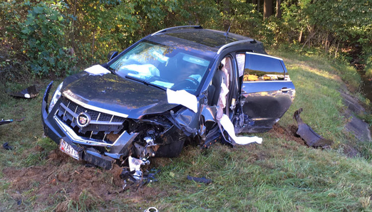 Cadillac SUV crashed on Interstate 95 north of Newark toll plaza. (Photo: Delaware