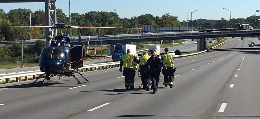 Woman injured in Interstate 95 crash was flown to Christiana Hospital by Delaware State Police helicopter. (Photo: Delaware Free News)