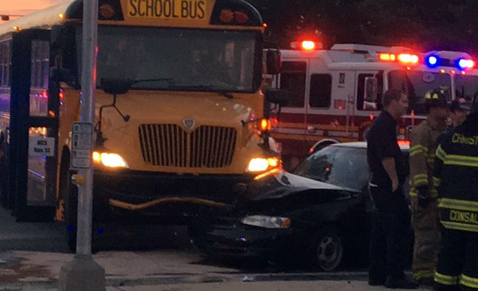 School bus collided with car at Old Baltimore Pike and Salem Church Road. (Photo: Reader submitted courtesy Jennifer Jankowski)