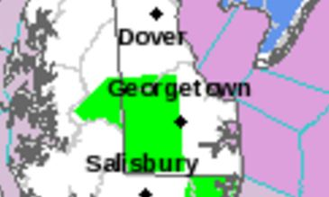 Flood warning area designated by National Weather Service.