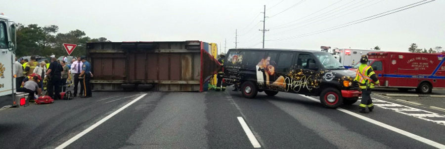 Jolly Trolley trailer overturned at Tower Road south of Dewey Beach. (Photo: Delaware State Police)