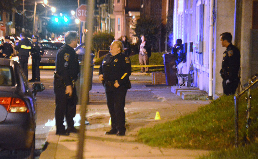 Evidence markers were placed at scene of shooting at 25th and N. Madison streets in Wilmington. (Photo: Delaware Free News)