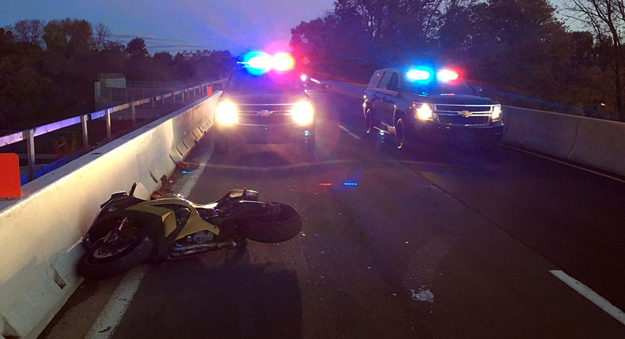 Motorcycle collided with a vehicle on southbound Route 141 at Interstate 95. (Photo: Delaware Free News)
