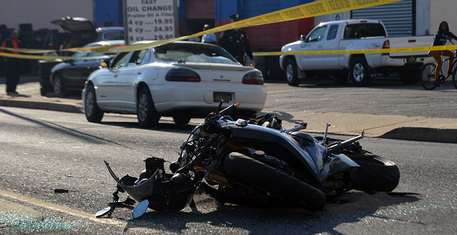 Motorcycle and car collided at 28th Street and Northeast Boulevard in Wilmington. (Photo: Delaware Free News)