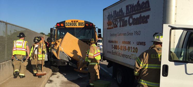 Scene of school bus crash on Kirkwood Highway (Photo: Delaware Free News)