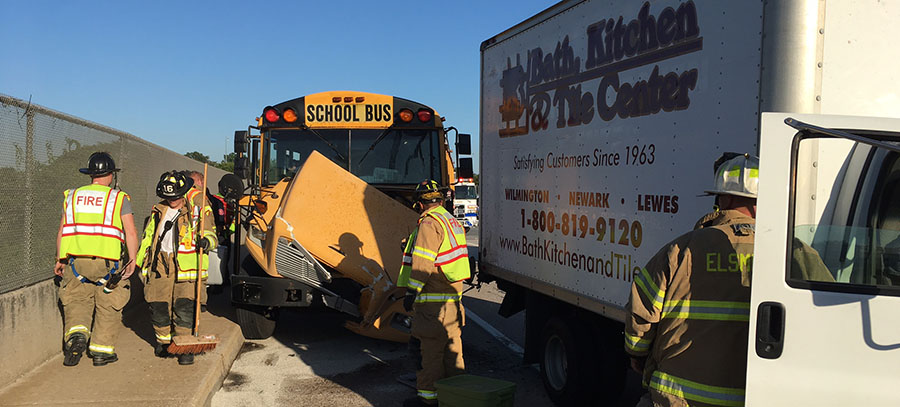 Scene of school bus crash on Kirkwood Highway (Photo: Delaware Free News)