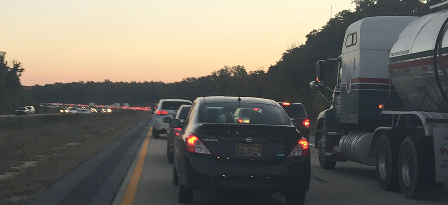 Southbound Route 1 was jammed south of Odessa due to a vehicle fire near Townsend. (Photo: Delaware Free News)