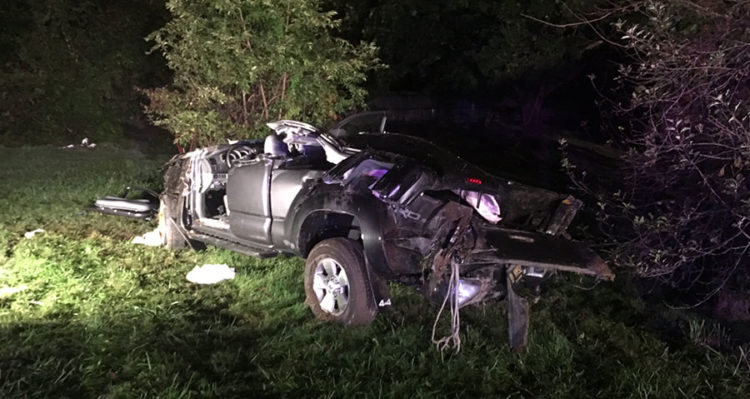 Pickup truck struck pole and home at Routes 7 and 71 intersection. (Photo: Delaware Free News)
