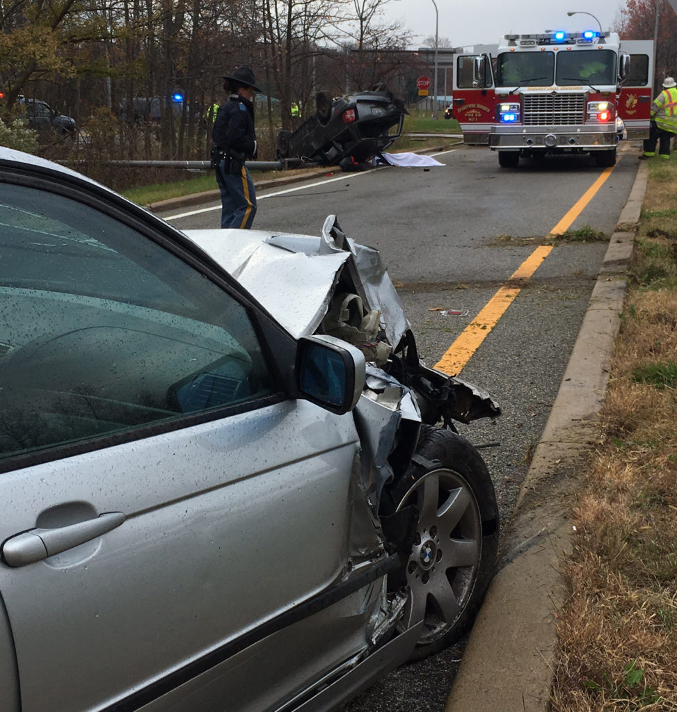 After colliding on Interstate 95, both vehicles came to rest along the on-ramp from Carr Road. (Photo: Delaware Free News)